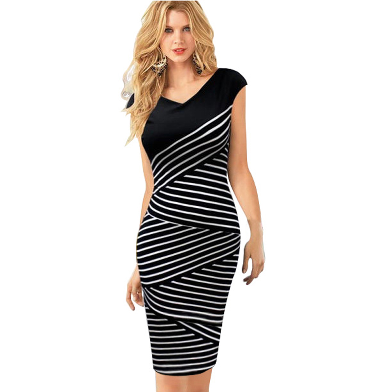 Vintage Summer Women Classic Black White Striped Tunic Fitted Casual Office Business Wear Work Sheath Pencil Dress EG760 - OUFANGMEIYI Store store