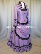 Best Seller Purple Taffeta Long Victorian Bustle Dress 18th Century Victorian Bustle Dress For Party