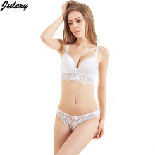 Julexy New 2017 Sexy Hollow out thongs women bra set lace perspective bralette underwear panty set Black push up bra brief sets