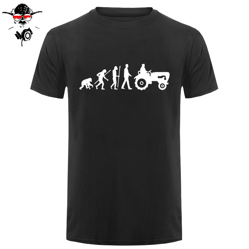 New Summer Fashion Evolution Tractor T Shirt Men Short Sleeve Cotton Born To Farm T-shirt Tops Camisetas Farmer Tshirt