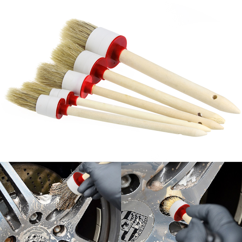 5Pcs Soft Car Detailing Brushes for Cleaning Dash Trim Seats Wheels Wood Handle Drop shipping
