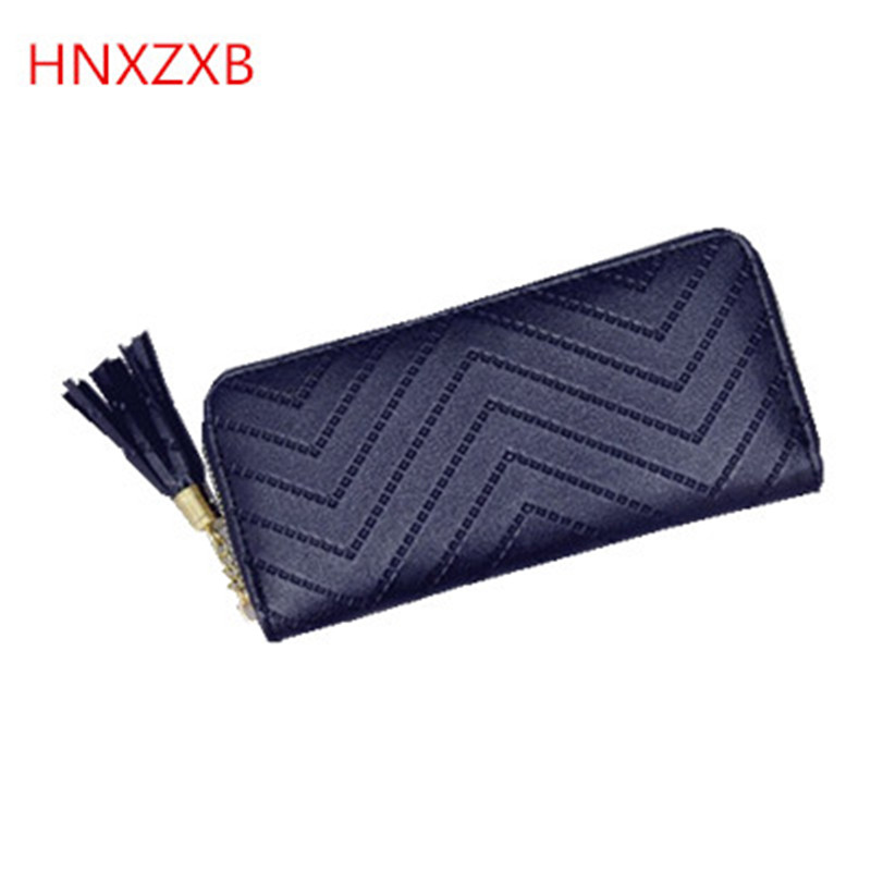 HNXZXB brand wallet female long purse with wrist strap, double zipper multifunctional wallet coin pocket card holder 4 colors 01