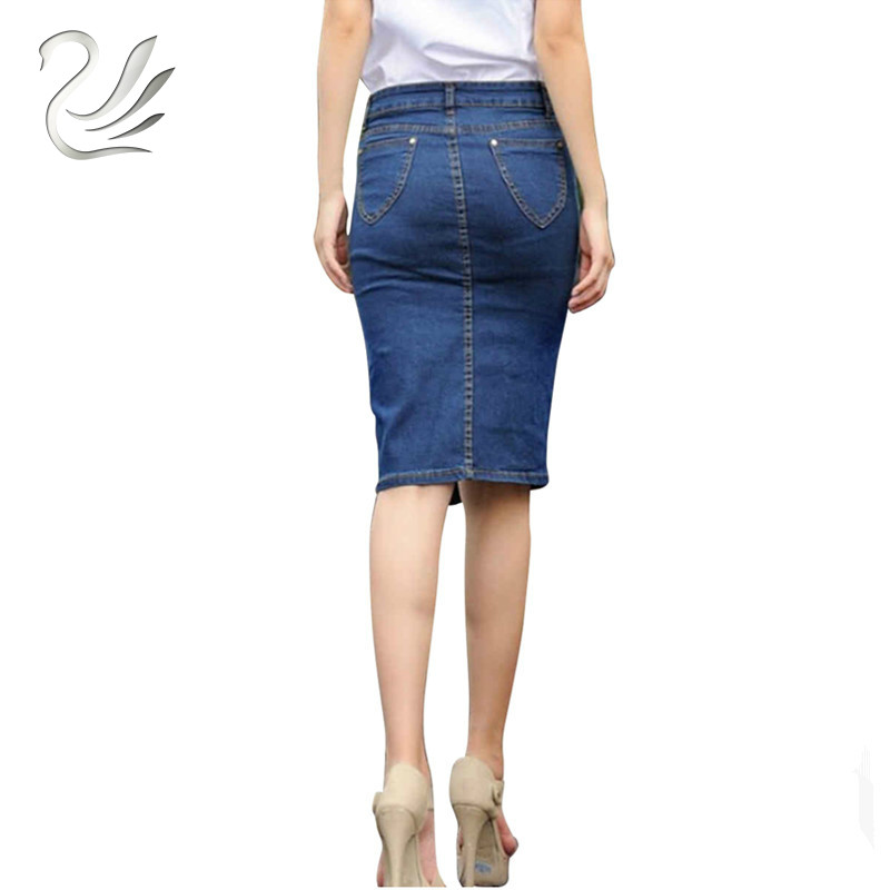 Hot Design 2019 Summer Sexy Women Fashion Denim Jeans Pencil Skirts Sexy Single Breasted Knee Length Skirt Plus Size