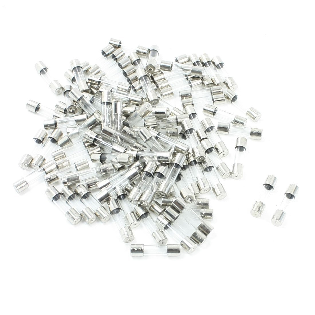 100 Pcs Fast Blow Type Glass Tube Fuses 2A 250V