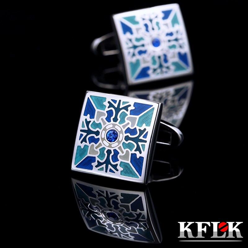 KFLK jewelry French shirt cufflink for mens Brand Blue Cuff link Button High Quality Luxury Wedding Groom Enamel Free Shipping