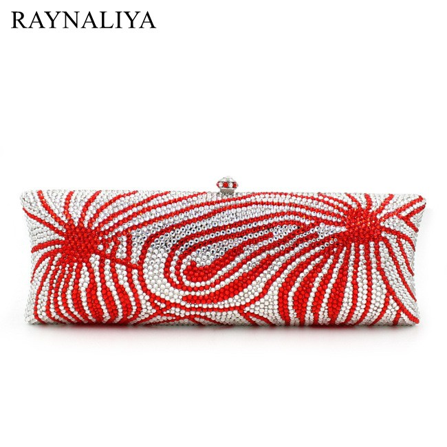 Women Red 2017 Luxury European And American Style Full Diamond Evening Messenger Bag Personality Red Clutch Wallet SMYZH-E0146 ledai wallet girl long style thin personality the japanese and korean students snake skin original women clutch bag