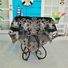European Black Embroidery Sequins Beaded Tablecloths Electrical Furniture Dustproof Table Cloths Christmas Wedding Decoration