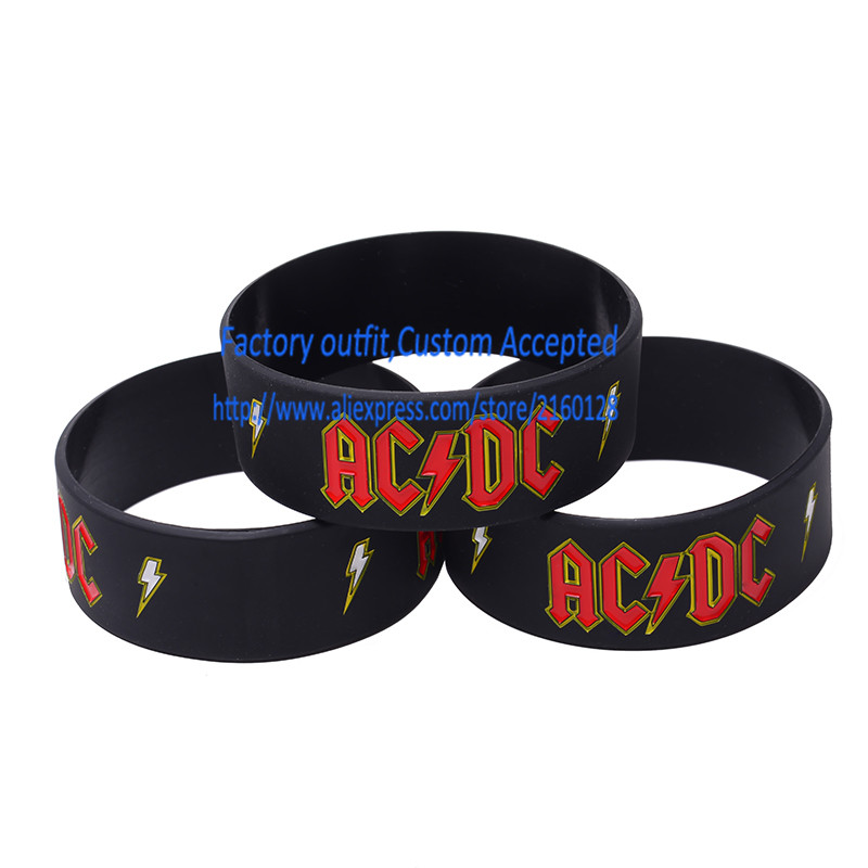 30pcs Lot Ac Dc Silicone Wristband Rock Band Fans Bracelets Punk Metal Gift Custom Accepted Wholes In Id From Jewelry Accessories On