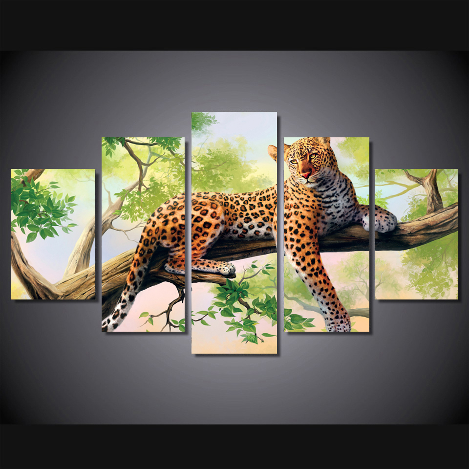 Leopard Bedroom Ideas For Painting: Leopard Art Spray Painting Set Of 5 For Office Room Decor