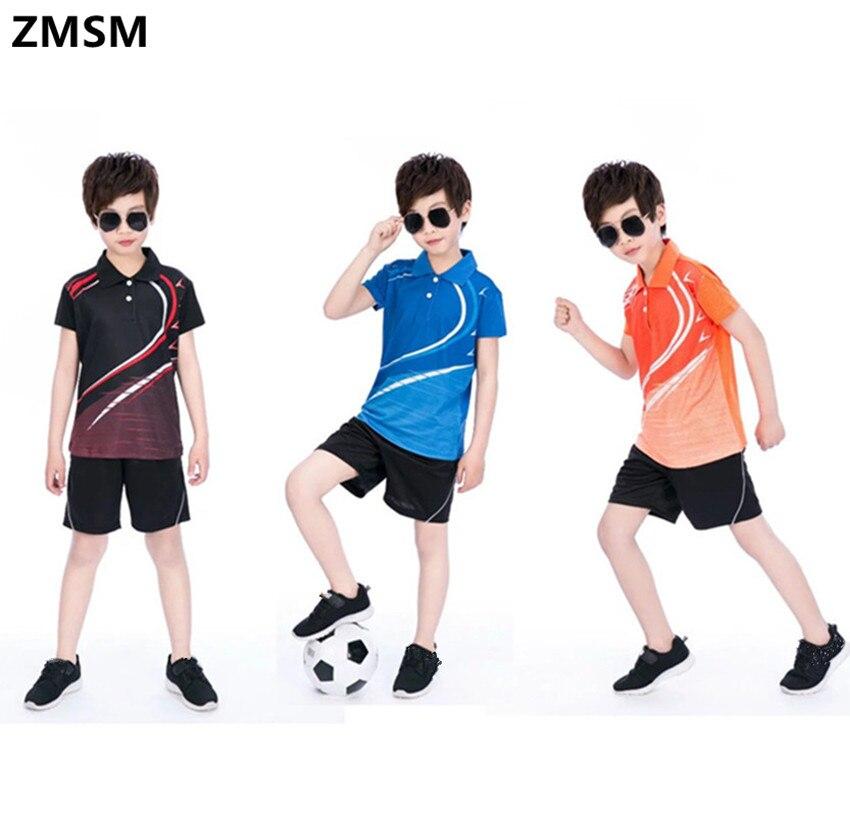 cheap for discount 8656a beb7d US $19.35 25% OFF|ZMSM 2017 Kinder Tennis Shirts drehen unten kragen  Perfekte qualität Jungen mädchen Sport Badminton Tischtennis shirt shorts  sets ...