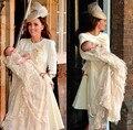 2016 champagne Famoso Prince George Batizado Vestidos com Camadas Lace Champagne Mangas Compridas Único Do Batismo Do Bebê Vestidos