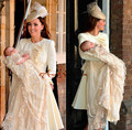 2016 champagne Famous Prince George Christening Dresses with Tiered  Champagne Lace Long Sleeves Unique Baby Christening Gowns