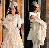 Champagne Famous Prince George Christening Dresses with Tiered Champagne Lace Long Sleeves Unique Baby Christening Gowns