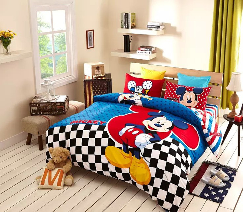 Good quailty mickey mouse queen sheet set bedding queen for Boys full size bed
