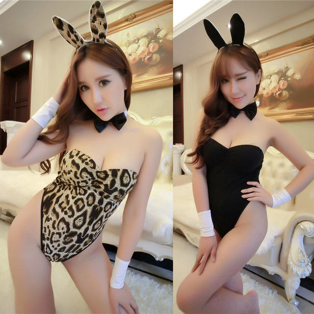 ed0fa7a51 Playboy Bunny Rabbit Girl Cosplay Porno Lingerie Overol Catsuit Body Sexy  Suit Babydoll Clubwear Leopard Teddies Bodysuit Pink
