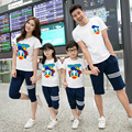 2017 new family look matching mother daughter clothes mother father baby clothing set cartoon t-shirts+ pants mother son outfits