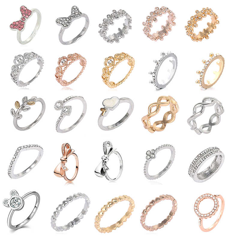 Hot sale Silver Color Bow-Knot Finger Rings For Women Girls Sparkling Zircon Fits Fine Rings Wedding Jewelry Dropshipping