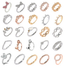 Hot sale Silver Color Bow-Knot Finger Rings For Women Girls Sparkling Zircon Fits Fine Rings Wedding Jewelry Dropshipping(China)