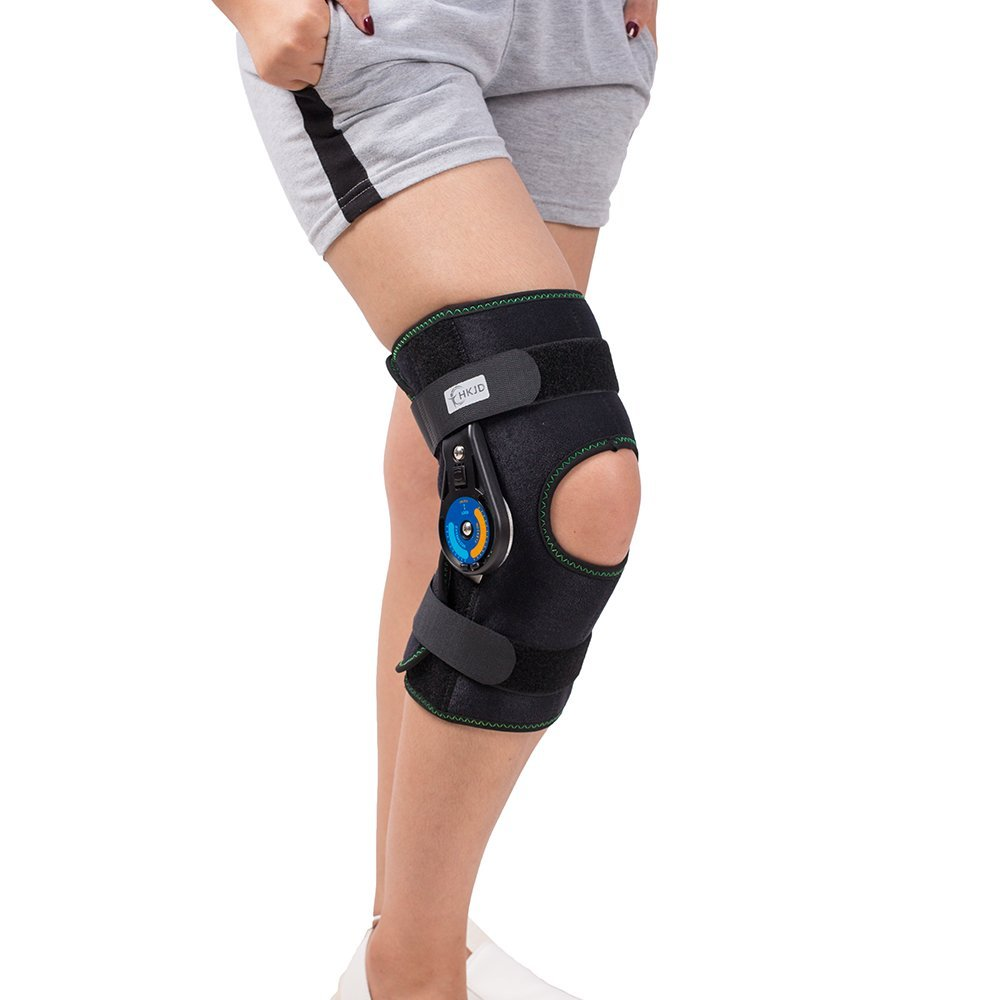 HKJD ROM Patella Knee Braces Support Hinged Adjustable Short Knee joint lateral stability Prevent hyperextension цена