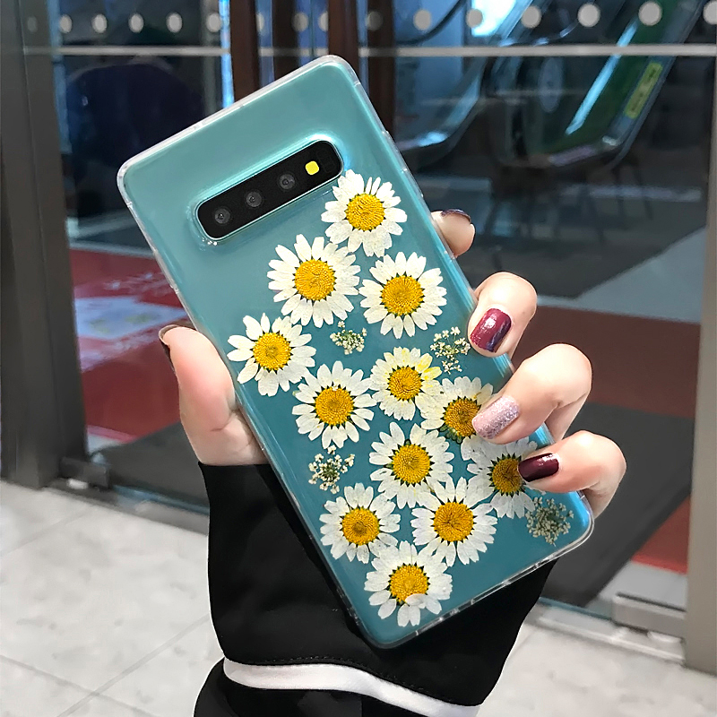 YHBBCASES Dried Real Flower Handmade Clear Pressed Phone Cover For Samsung Galaxy S8 S9 S10 Plus Note 10 8 9 Soft TPU Back Cases