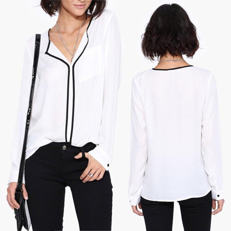 New 2015 Women Long Sleeved Black Trim White Shirts V Neck Long ...