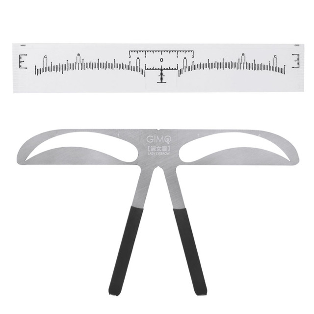 Eyebrow Sticker Stencil Ruler Kit Permanent Makeup Brow Beauty Cosmetic Shaping Grooming Measure Position Template Metal Ruler 3