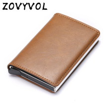 купить ZOVYVOL RFID Mini Wallet for Men and Women Blocking Credit Card Holder Aluminum Metal Business ID Cardholder Slim Card Case дешево