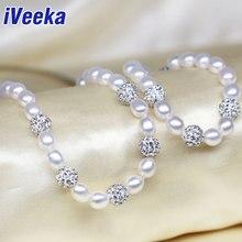 IVeeka joyería conjuntos naturales de agua dulce collar de perlas pulseras con cuentas shambala 7 ~ 8mm arroz perla de agua dulce de la boda joyería