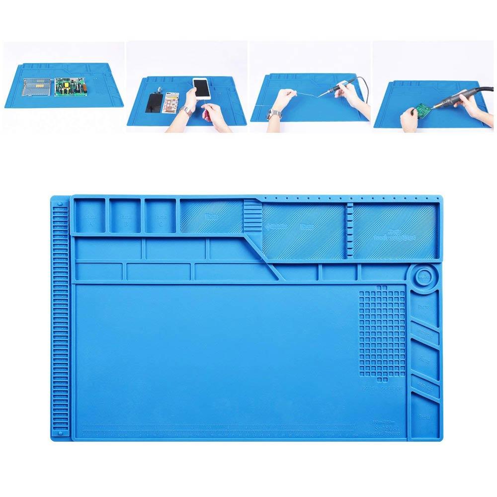 Neueste S-180 55*35 CM BGA Wärmedämmung Silikon Löten Pad Reparatur Wartung Plattform Schreibtisch Matte mit Magnetische Abschnitt