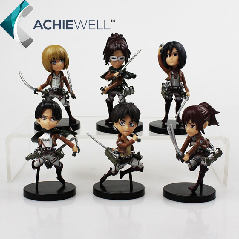 2016 New Anime Attack On Titan Cute Version Eren Jaeger Mikasa Ackerman Action Figures 2nd Generation Mini Models Toys Kids Gift  недорого