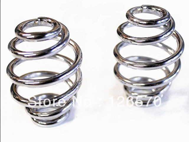 "NEW Chrome 3"" Barrel Coiled Solo Seat Springs for Harley Chopper Bobber Softail"