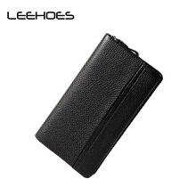 Large Capacity Men Clutch Bag Cowhide Geniuen Leather Wallets Vintage Coin Purse Money Zipper Pocket Black Business Card Holder