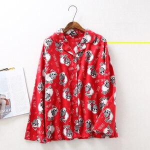 Image 3 - Pijama de algodón cepillado para mujer, 100% de oveja, cálido, sexy, rojo, talla grande