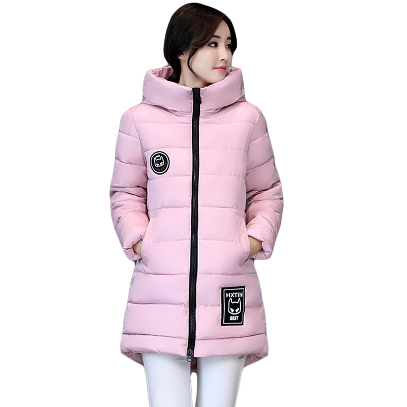 2017 New Plus Size Winter Wadded Jacket Women Thick Warm Hooded Medium-long Cotton-padded Jacket Parka Slim Winter Coat CM1545 new winter women jacket medium long thicken plus size outwear hooded wadded coat slim parka cotton padded jacket overcoat cm1039