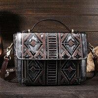 Vintage Women Leather Messenger Bags Handbags Diamond Lattice Ethnic Style
