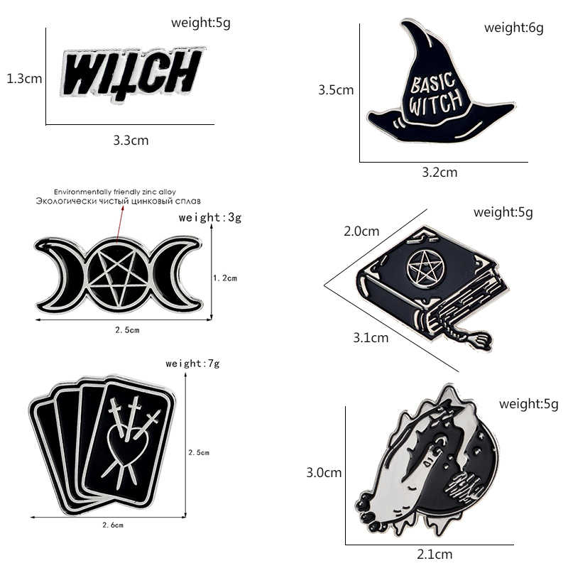 Penyihir Pin Enamel Hitam Buku Ajaib Topi Penyihir Bola Kristal Tarot Tiga Bulan Kerah Bros Jaket Denim Jeans Pin Lencana Punk