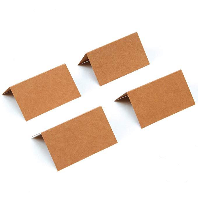 Купить с кэшбэком 20 Pieces Kraft Blank Table Name Place Cards for wedding Decoration and school stationery Supplies DIY cards