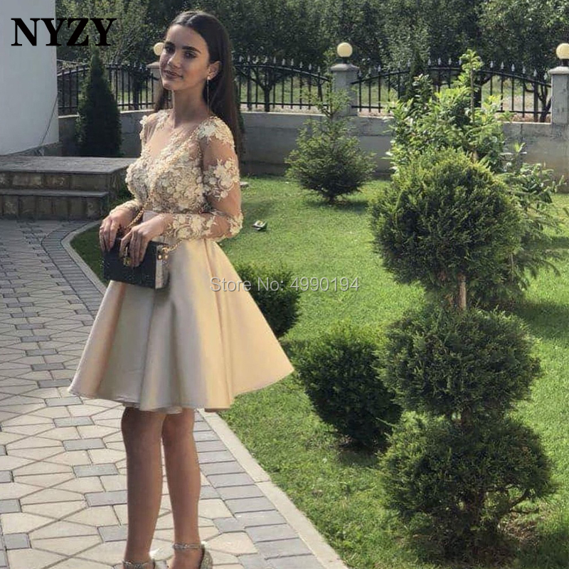 NYZY C136 3D Flower Champagne   Cocktail     Dresses   Robe Soiree Dubai Long Sleeve Satin   Dress   Party Prom Homecoming 2019