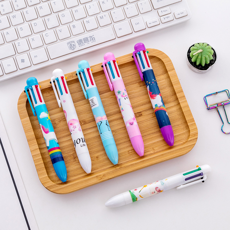 6 Colors Unicorn Flamingo Ballpoint Pen Cute Drawing Ball Pens Material Escolar office school Writing supplies