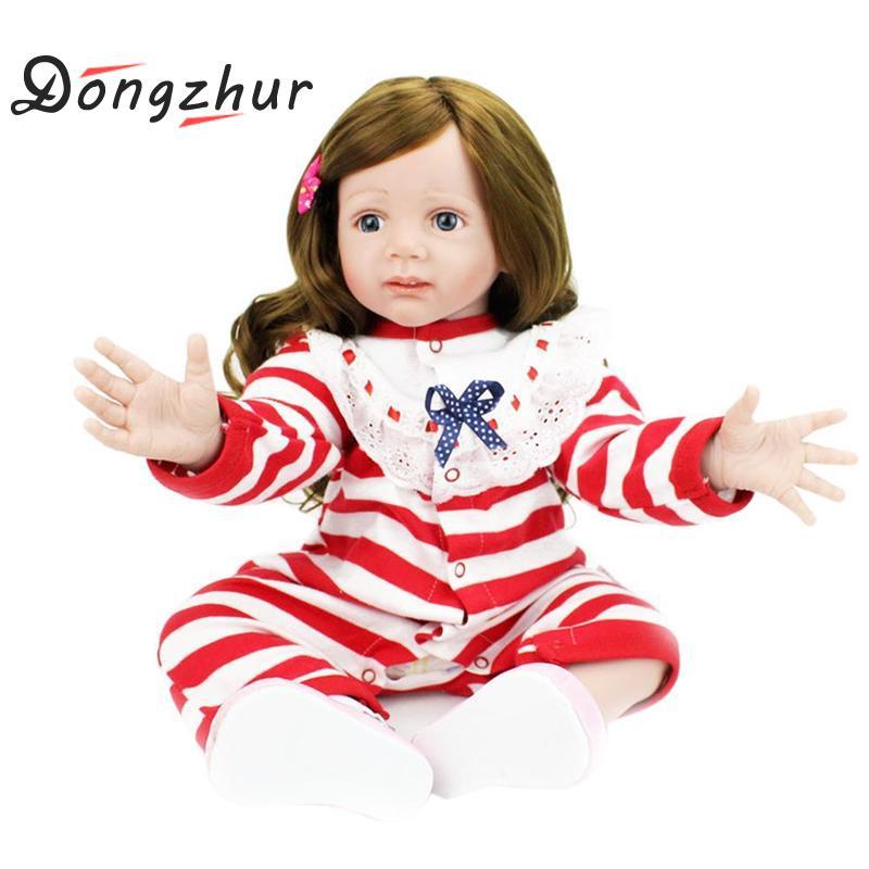 Dongzhur 60cm NPKDOLL Reborn Baby Doll Boneca Reborn Silicone Completa Doll Reborn Clothbody Toy For Children Girl Birthday Gift warkings reborn
