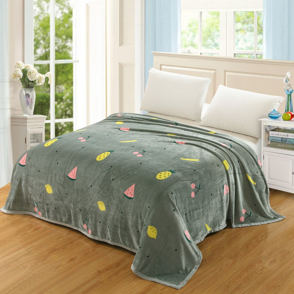 100% Polyester Fruit Printed Blanket Blackish Green Throw Blanket Sofa  Throws Blankets For Bed Sofa