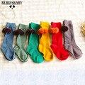 Baby Cotton Socks With Pom Pom Новорожденных Мальчиков Ins Дети Держать теплые Носки Девушки Средний/Гольфы 0-5лет Размер с Candy 6 Цветов
