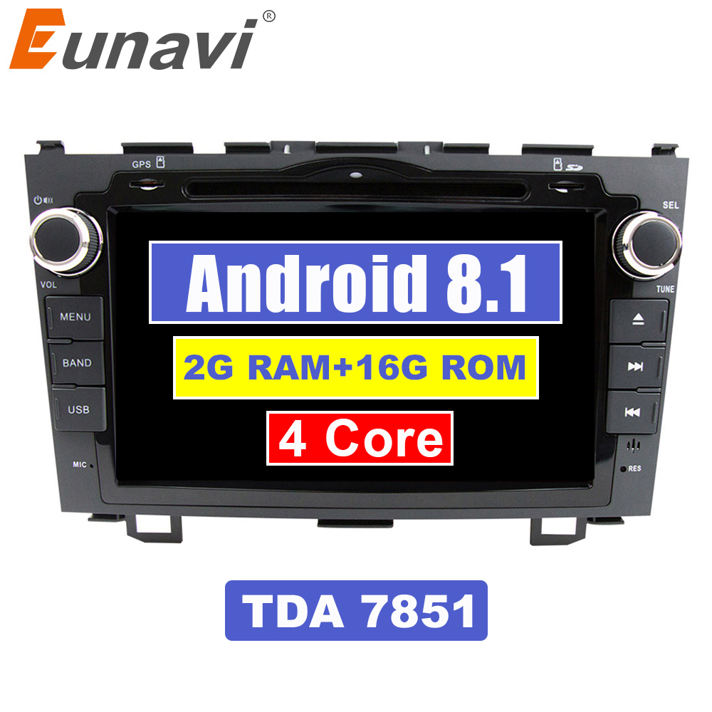 Eunavi 8 inch Android 8.1 2 Din Car DVD Player Radio GPS For Honda CRV Cr-v 2006 2007 2008 2009 2010 2011 Head Unit Stereo WIFI