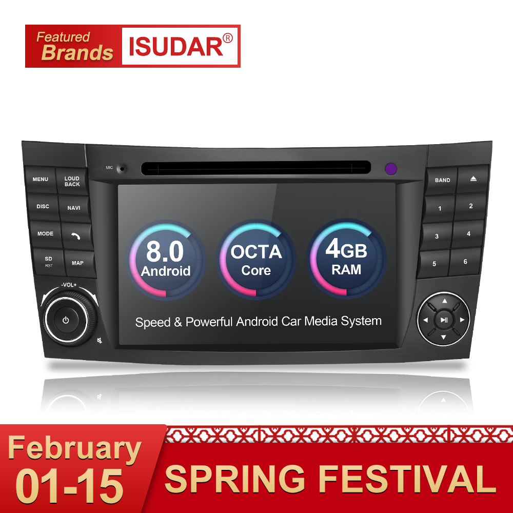 Isudar Car Multimedia Player Android 8.0 GPS 2 Din 7 Pollici Per E-Class/E200/E220/ e300/W211/E320/Mercedes/Benz/CL Wifi della Radio del DVD