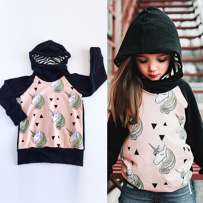 Baby kids Hoody Unicorn Girl Autumn Winter Sweaters Hoodie Fall 2017 Cottton Black Baby Girl Warm Sweatshirt Cartoon Outwear