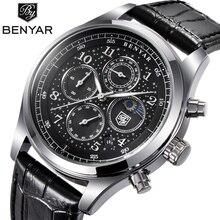 BENYAR мужские часы топ класса люкс Moon Phase полный стальной кварцевый хронограф часы спортивные военные водонепроницаемые наручные часы