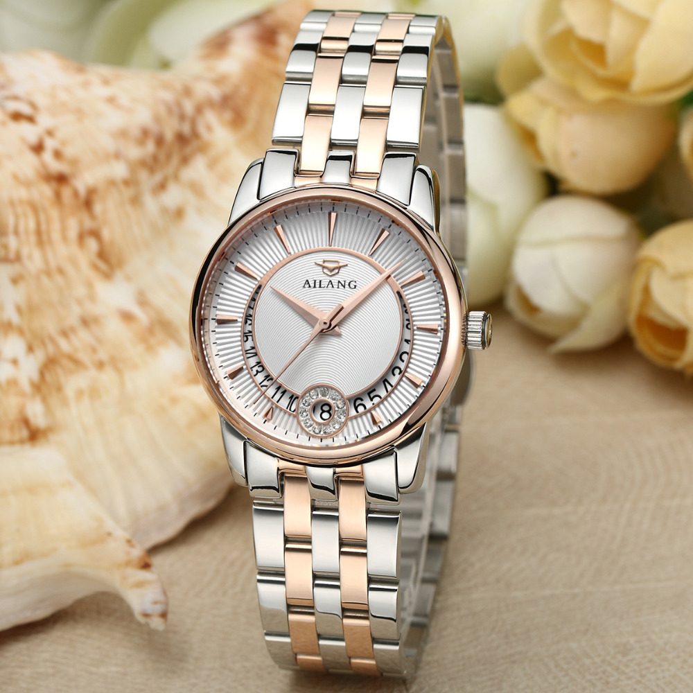 Original AILANG Brand Business Designer Women Full Steel Dress Watches Elegant Lady Self Winding Automatic Clock Calendar NW7193 fashion businessmen elegant full steel watches automatic self wind calendar clock business crystals dress relojes saphir nw3304