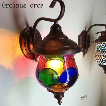 Bohemia coffee shop wall lamp, Mediterranean Morocco, stained glass, retro wall lighting