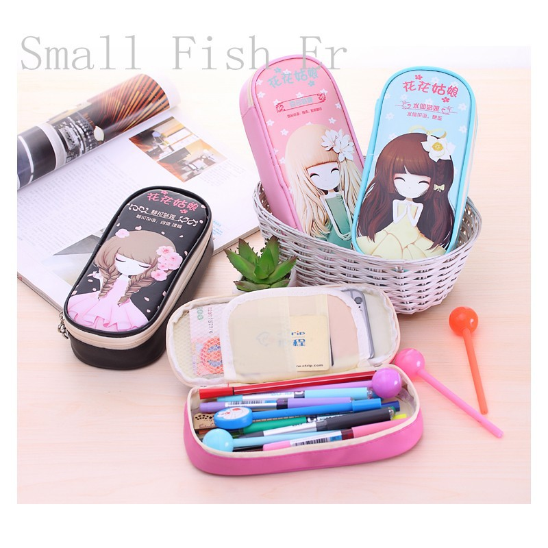 7458e82f31 Detail Feedback Questions about Cute school pencil case for girls Big hero  Flower girl pencil bag Large Capacity Leather Stationery pouch office school  ...
