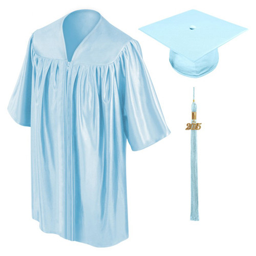 Sky blue graduation gown cap and tassel-Be.Fore